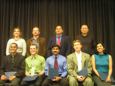 "Graduate Research Award winners (front row) and their advisors (back row): Front row from left, Sumit Chaudhary, Neal A. Tognazzini, Sathyajith Ravindran, Kenneth Scott Phillips and Shatakshee Dhongde. Back row from left: Mihri Ozkan, Erich Reck, Cengiz Ozkan and Quan ""Jason"" Cheng. Not pictured: Prasanta Pattanaik."
