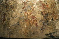 A detail from a sacred Maya mural at San Bartolo &mdash; the earliest known Maya painting, depicting the birth of the cosmos and the divine right of a king  <br />
