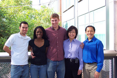From left: Greg Guillen, Temi Ogunyoku, Roland Cusick, advisor Kawai Tam, and Andrew Chin. Student researcher Steven Gebelin is not pictured.