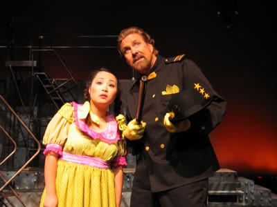 left to right:  Helen Kim (Little Sally)and  Randy Ingram (Officer Lockstock) <br />