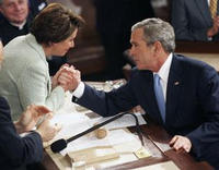President Bush contratulates House Speaker Nancy Pelosi during the 2007 State of the Union speech. The Associated Press