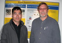 Jong-Shik Kim (left) is a postdoctoral researcher working with David E. Crowley (right), a professor of environmental microbiology in the Department of Environmental Sciences. Photo credit: J.-S. Kim, UCR.