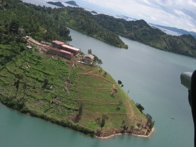An aerial view of a rural school in Rwanda.