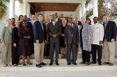 Paul Rudatsikira (center, second row) and American business leaders meet Rwanda President Paul Kagame (center front).