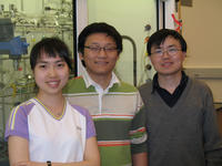 UCR's Yongxing Hu, Jianping Ge and Yadong Yin of the Department of Chemistry. Image credit: Yin laboratory, UCR. (Additional image below.)