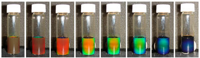 Image shows the solution of iron oxide in water changing color under a magnetic field, with increasing strength of the field from left to right.  Photo credit: Yin laboratory, UCR.