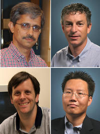 UCR engineers involved in the research project. Clockwise from top left: Ashok Mulchandani (pricipal investigator of the grant), Marc Deshusses, Nosang Myung and David Cocker. <a href=
