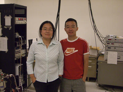 Jeanie Lau (left), an assistant professor of physics, seen with Feng Miao (right), her graduate student and first author of the research paper.  Image credit: Lau lab, UCR.