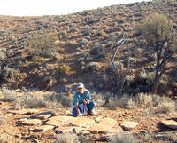 Mary Droser, a professor of Earth sciences, on a field trip in the South Australian outback. Video shows Mary Droser and James Gehling excavating a <i>Funisia dorothea</i> fossil in South Australia.
