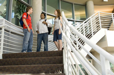 A conversation inside the new Student Commons