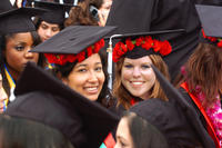 Excited graduates participate in a previous ceremony.
