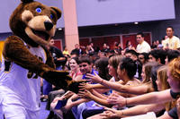This year's new students (and Scotty the bear) get the year started at a convocation and pep rally