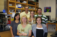 UC Riverside research team involved in the Fragile-X project with minocycline. First row (left to right): Iryna Ethell, Tina Bilousova; second row (L to R): Jennifer Aye, Douglas Ethell, Lorraine Dansie, Jonathan Charles (Michelle Ngo, not shown). Iryna Ethell is holding the Breakthrough Award of the Year awarded to her by The FRAXA Research Foundation.  Photo credit: Ethell lab, UC Riverside.<br />