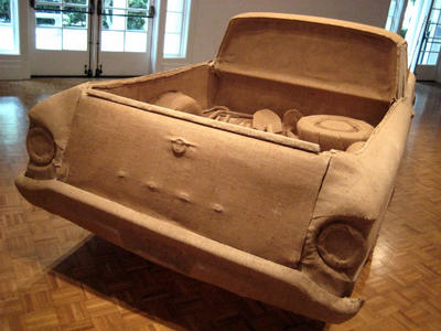 "An art installation of a life-size car made of burlap, ""My '61 Ford,"" by Adán Avalos"
