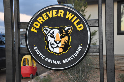 The sign that leads to the new visitor center for the Forever Wild Exotic Animal Sanctuary