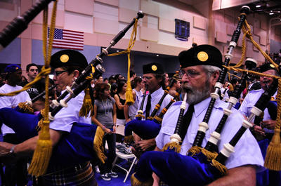 UCR's Pipe Band always leads the procession of graduates at commencement