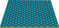 Graphene consists of carbon atoms only one atomic layer thick, with the unique characteristic that its electrons behave as if they have zero mass. Image credit: Lau lab, UC Riverside. (Additional photo below.)