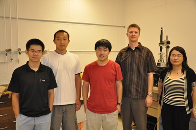 From left to right: Wenzhong Bao (first author), Zhen Chen, Hang Zhang, Chris Dames and Chun Ning (Jeanie) Lau. Photo credit: UCR Strategic Communications.