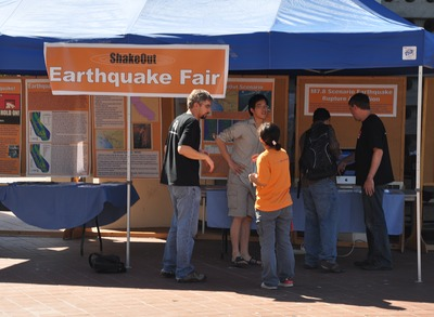 Earthquake information fair at UCR, 2009.  Photo credit: UCR Strategic Communications.