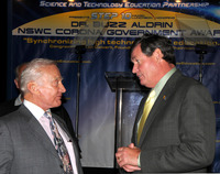 Apollo 11 astronaut Buzz Aldrin (left) speaks with UCR Chancellor Timothy P. White during the Science and Technology Education Partnership (STEP) annual conference.