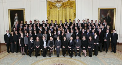 President Barack Obama joins recipients of the Presidential Early Career Awards for Scientists and Engineers (PECASE) for a group photo in the East Room of the White House,  Jan. 13, 2010. (Official White House Photo by Lawrence Jackson). UCR's Jeanie Lau is sixth from the left in the row seated.  This photograph may not be manipulated in any way and may not be used in commercial or political materials, advertisements, emails, products, promotions that in any way suggests approval or endorsement of the President, the First Family, or the White House.