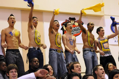 Fans get enthusiastic at last year's homecoming basketball game
