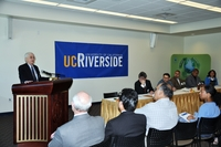 Dallas Rabenstein, UCR's Executive Vice Chancellor and Provost, speaks at an event held to sign an agreement between UCR and the Environmental Protection Agency. Photo credit: Kim Lane