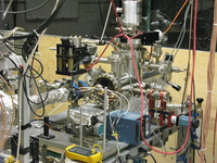 The ultra-high vacuum target chamber used in the experiment. Photo credit: David Cassidy, UC Riverside.