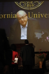 UC President Mark Yudof takes questions via video from students attending the African Black Coalition conference at UC Riverside. Photo credit: Peter Phun.