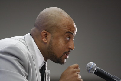 Edward Bush, a college administrator and scholar, makes a point during his talk at the African Black Coalition conference at UC Riverside. Photo credit: Peter Phun.
