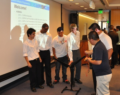 Members of Mt. San Jacinto Menifee campus team 1. The students, from left to right, are Jovanny Santana, Antonio Banks, Agustin Maizares, Matt Wepplo and Richard Santana.<br />