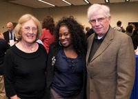 Donors Ida and Rodney Moore with scholarship recipient Devonna Gaitlin (at center). Photo credit: Carlos Puma