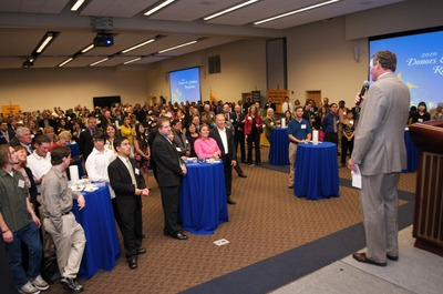 Chancellor White welcomes nearly 500 people, both donors and scholarship recipients, who gathered in the Highlander Union Building to celebrate these individual success stories -- representing $6 million in scholarship funds awarded over the past two years at the University of California, Riverside. Photo credit: Carlos Puma