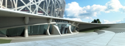 The two-story Beijing Olympic Museum will be located in the parking area beneath the Bird's Nest.
