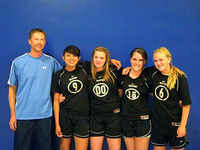 UC Riverside staff member Greg Kund with players Briana Fonseca, Sami Vessels, Brooke Honcharik and Summer Addink.