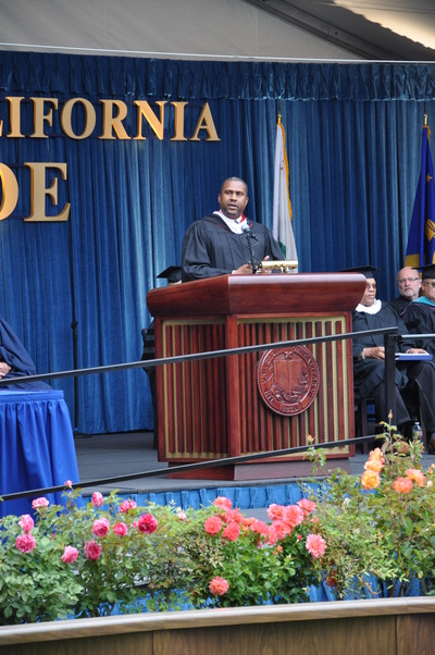 Tavis Smiley spoke at UCR's Saturday-morning commencement ceremony, one of seven scheduled over four days.