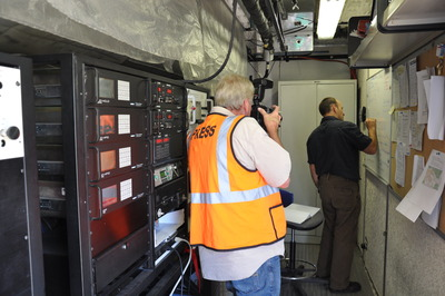 Kent Johnson inside the truck that houses the emobile emissions laboratory.