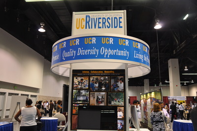 The UCR booth was located prominently in the main exhibit hall at the Anaheim Convention Center, and attracted many visitors. Photo credit: UCR Strategic Communications.
