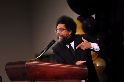 Cornel West exhorts and inspires a UC Riverside crowd.<br />