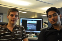 Michael Butkiewicz, left, and Indrajeet Singh, Ph.D. students in computer science and engineering, created Twitsper.