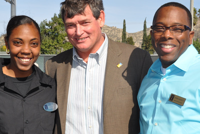 Tikila Welchen and Lavert Bennett from UCR dining services wanted a posed picture with Chancellor White.