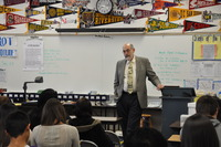 Dean Thomas Baldwin addresses students at Ramona High School who are in a college preparatory program.  Photo credit: UCR Strategic Communications. (More photos below.)