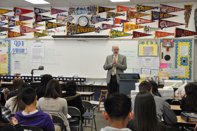 Dean Thomas Baldwin talked to Ramona High students on what it takes to succeed in a four-year university.  Photo credit: UCR Strategic Communications.