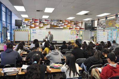 Dean Thomas Baldwin advised the Ramona High School students to learn to communicate well – in both speaking and writing.  Photo credit: UCR Strategic Communications.