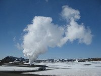A view of the exploratory geothermal well during flow testing.  Photo courtesy of Bjarni Palssen.  (More photos below.)