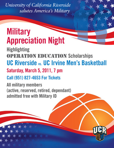 Military Appreciation Night is Saturday, March 5 with game time at 7 p.m.