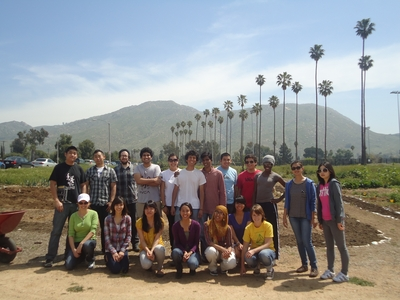 Students enrolled in the sustainability seminar in front of UC Riverside's community garden.