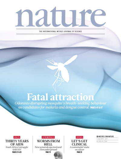 Cover of June 2 issue of <i>Nature</i>.  Image credit: <i>Nature</i>.