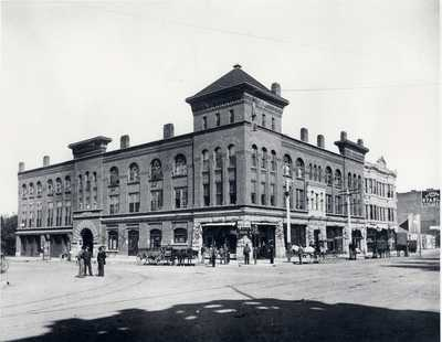The Loring Building, shown in the this 1895 photo, once included the Loring Opera House, which was destroyed in a 1990 fire. The surviving portion previously housed executive offices of fruit packing and shipping companies that relied upon Japanese labor, as well as the offices of the attorneys involved in the Harada case, Purington and Adair. <br />