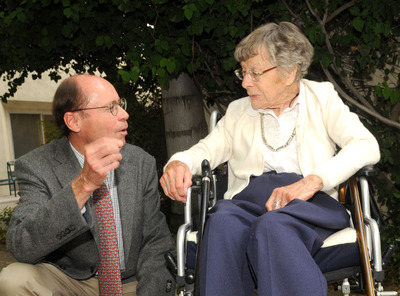 "Photo shows Betty Moore (right) speaking with Tim D. White after his 2010 talk inaugurating the John and Betty Moore ""Science as a Way of Knowing"" Lecture Series. Betty Moore funded the lecture series in UCR's Department of Biology, from which White graduated in 1972.  A professor of integrative biology at UC Berkeley and director of the Laboratory for Human Evolutionary Studies, White is the discoverer of ""Ardi,"" the oldest known hominid, whose introduction to the world in the October 2, 2009, issue of Science revolutionized the study of human origins.  Photo credit: M.J. Elderman."